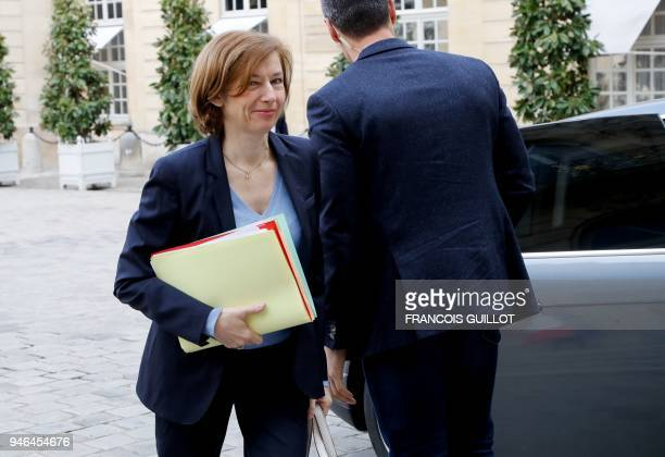 French Defence Minister Florence Parly arrives to attend a meeting with the Parliamentary commissions presidents and Heads of the National Assembly...