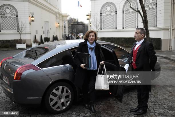 French Defence Minister Florence Parly arrives to attend a government's New Year breakfast meeting at the Interior Ministry in Paris on January 3...