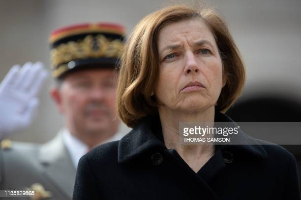 French Defence minister Florence Parly attends the national tribute to military doctor Captain Marc Laycuras at the Invalides in Paris on April 8...