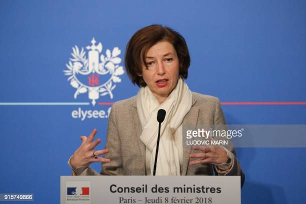 French Defence Minister Florence Parly briefs the media following the weekly Cabinet meeting on February 8 2018 in Paris / AFP PHOTO / LUDOVIC MARIN