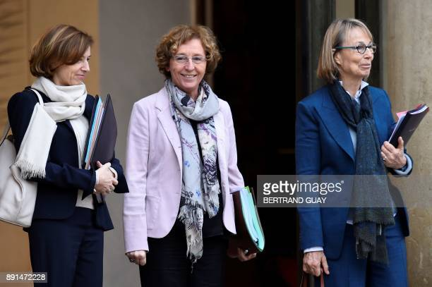 French Defence Minister Florence Parly French Labour Minister Muriel Penicaud and French Culture Minister Francoise Nyssen leave after a weekly...