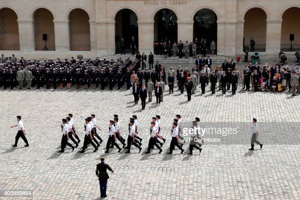French Defence Minister Florence Parly French President Emmanuel Macron French Junior Defence Minister Genevieve Darrieussecq Chief of the Military...
