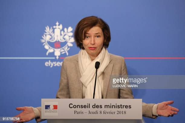 French Defence Minister Florence Parly gestures as she briefs the media following the weekly Cabinet meeting on February 8 2018 at the Elysee palace...