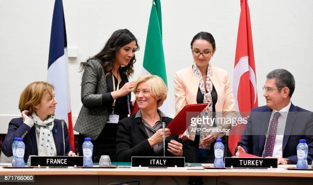 French defence minister Florence Parly Italian defence minister Roberta Pinotti and Turkish defence minister Nurettin Canikli meet to sign a letter...