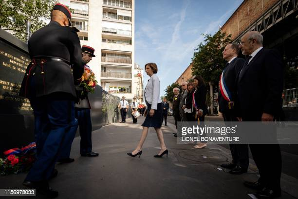 French Defence Minister Florence Parly lays a wreath as she attends a ceremony commemorating the 76th anniversary of the Vel d'Hiv round-up in Paris...