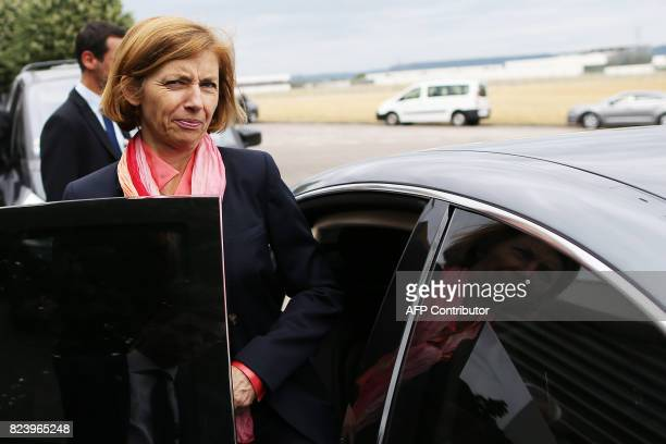 French Defence Minister Florence Parly leaves following a visit to the French Directorate General of Armament centre for hydrodynamics techniques in...
