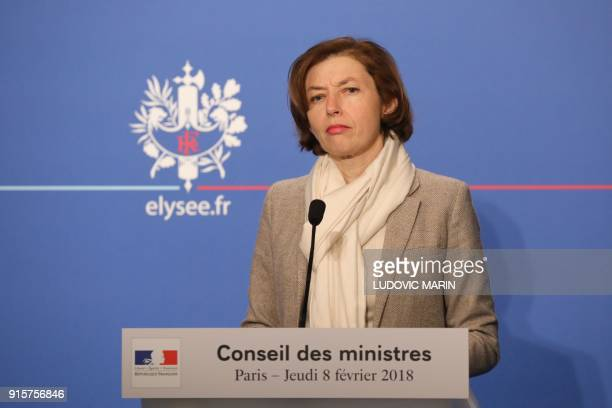 French Defence Minister Florence Parly listens to a reporters' question during a press briefing following the weekly Cabinet meeting on February 8...