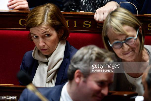 French Defence Minister Florence Parly looks on as other ministers speak during a session of questions to the government at the National Assembly in...