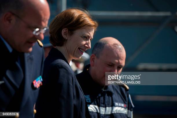 French Defence Minister Florence Parly meets with French navy soldiers onboard the FREMM 'Languedoc' in Toulon southern France on April 20 one week...