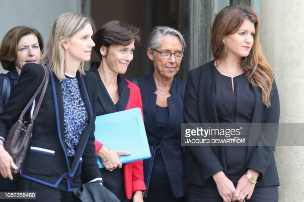 French Defence Minister Florence Parly, newly-appointed French deputy minister to the Economy minister Agnes Pannier-Runacher, newly-appointed French...