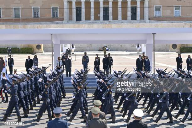 French Defence Minister Florence Parly, Russian Prime Minister Mikhail Mishustin, Cypriot President Nicos Anastasiades and his wife Andri...