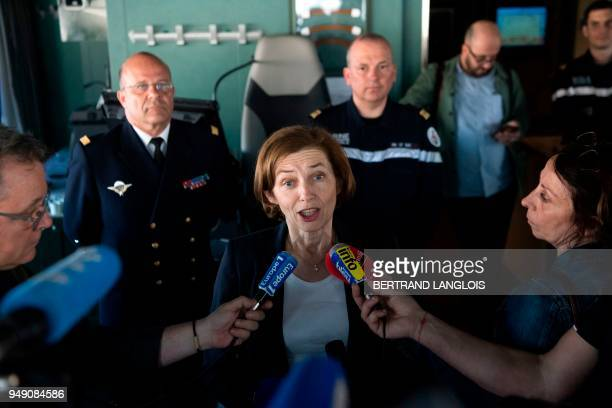 French Defence Minister Florence Parly speaks to journalists onboard the FREMM 'Languedoc' in Toulon southern France on April 20 one week after...
