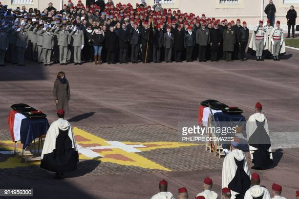 French Defence Minister Florence Parly stands in front of the flagdraped coffins during a ceremony in honour of the two French Spahi soldiers killed...