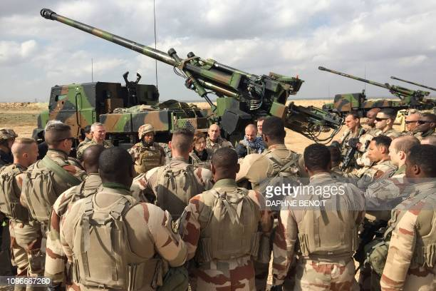 French Defence Minister Florence Parly talks to French soldiers engaged in Operation Chammal the French military operation within Operation Inherent...