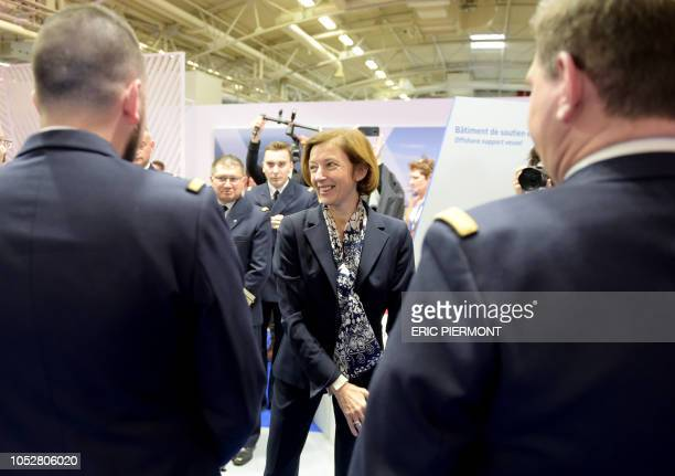 French Defence Minister Florence Parly visits Euronaval 2018 naval defence equipment fair in Le Bourget near Paris on October 23 2018