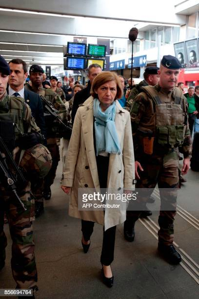 French Defence Minister Florence Parly visits French soldiers of the Sentinelle military force security mission at the train station Gare...