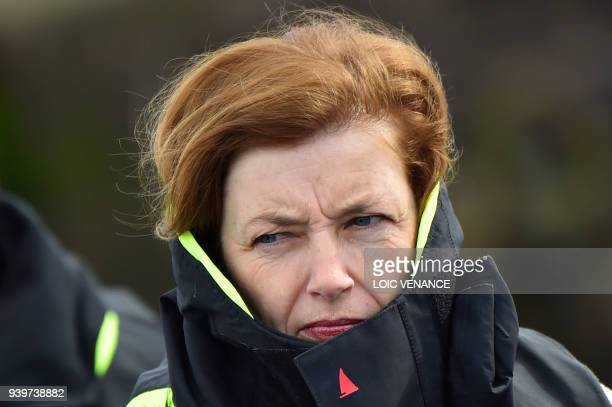 French Defence Minister Florence Parly wears a life jacket as she attends a military exercise at the FusillerMarins base on March 29 2018 in Lanester...