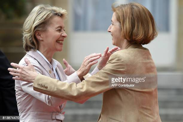 French Defence Minister Florence Parly welcomes German Defence Minister Ursula von der Leyen as she arrives at the Hotel de Brienne the Ministry of...