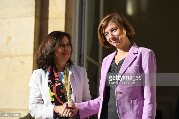 French Defence Minister Florence Parly welcomes her Spanish counterpart Margarita Robles for talks in Paris on September 11, 2019.
