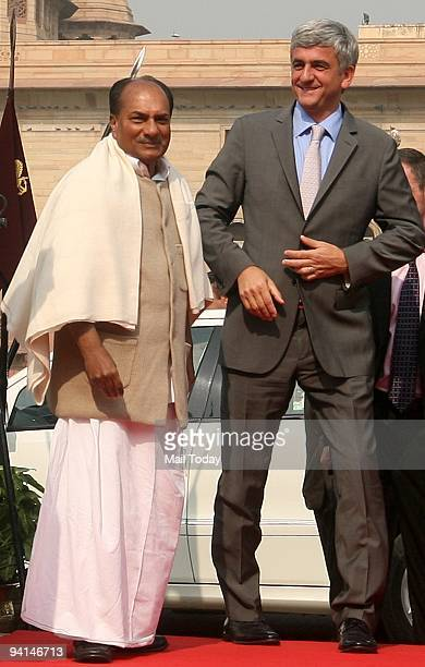 French Defence Minister Herve Morin with Union Defence Minister AK Antony during a welcome ceremony at The Ministry of Defence in New Delhi on...