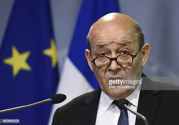 French Defence minister JeanYves Le Drian gives a press conference to present his military programming law on March 11 2015 in Paris AFP PHOTO / ERIC...