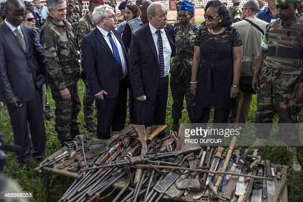 French Defence Minister Jean-Yves Le Drian , new president of Central African Republic, Catherine Samba-Panza and French ambassador Charles Malinas ,...