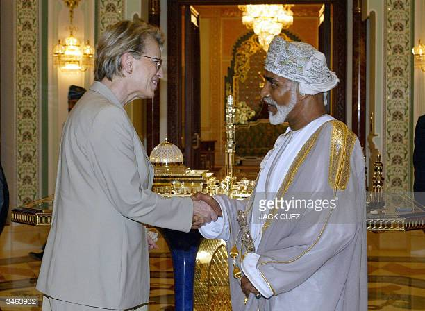 French Defence Minister Michele AlliotMarie and Omani Sultan Qaboos bin Said shake hands 24 April 2004 in Muscat AlliotMarie said France wants to...
