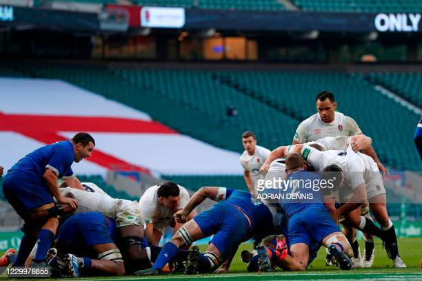 French defence on the goal-line as England are held as the half-time whistle approaches during the final of the Autumn Nations Cup international...