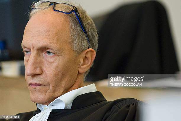 French defendant lawyer Mohamed Khanifar looks on at the Riom courthouse on November 25 2016 on the 10th day of the trial of Cecile Bourgeon and...