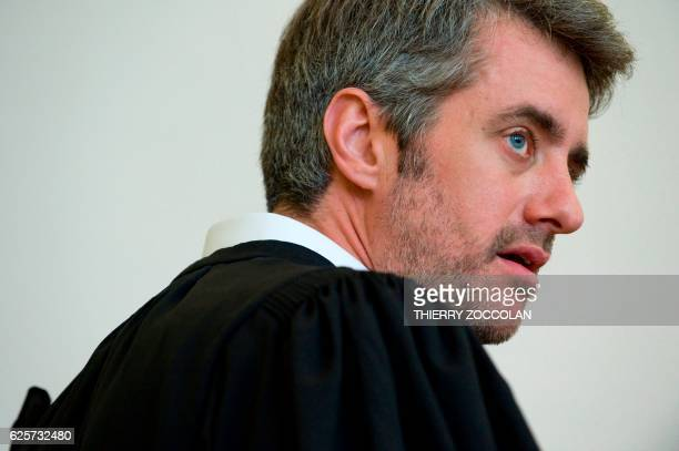 French defendant lawyer Renaud Portejoie looks on at the Riom courthouse on November 25 2016 on the 10th day of the trial of Cecile Bourgeon and...