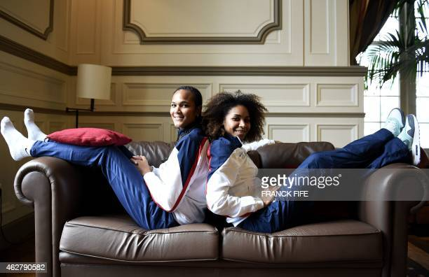 French defender and captain Wendie Renard and defender Laura Georges pose at the French national football team training base in Clairefontaine on...