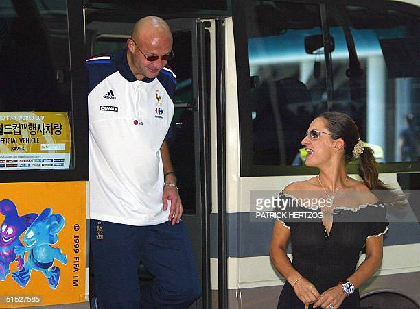 French defender Frank Leboeuf and his wife Betty arrive at the Sheraton Hotel 02 June 2002 in Seoul for a lunch with the French squad Midfielder...