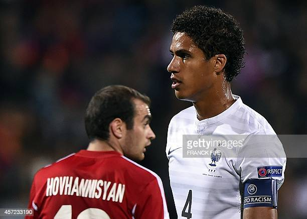French defender Raphael Varane plays on October 14 2014 during a friendly football match Armenia vs France at the Republican Stadium in Yerevan AFP...