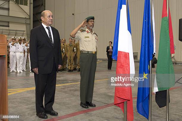 French Defense Minister JeanYves Le Drian attends a welcoming ceremony with United Arab Emirates' Chief of Staff General Hamad Mohammed Thani...