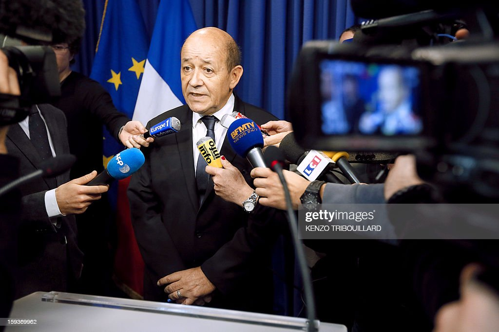 French Defense Minister Jean-Yves Le Drian gives a press conference on January 12, 2013 in Paris. Le Drian said that a French pilot was killed on January 11 during a helicopter raid to prevent Islamist groups controlling northern Mali from advancing toward the capital Bamako. The raid was carried out to support Mali ground troops in the battle for the key town of Kona. Backed by French air power, Malian troops on January 11 unleashed an offensive against Islamist rebels who, having seized control of the north of the country in March last year, were threatening to push south.