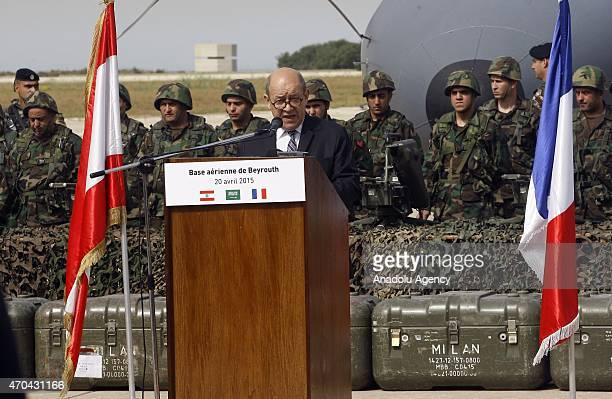 French Defense Minister JeanYves Le Drian speaks during a ceremony as the Lebanese army receive the first shipment of French arms within the context...