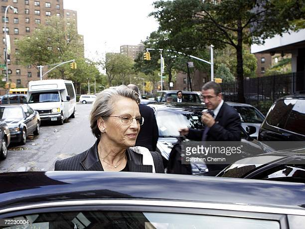 French Defense Minister Michele AlliotMarie gets to her waiting car after a visit to the STRIVE job training center October 20 2006 in New York City...
