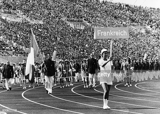 French delegation parades during the opening of the Olympic's Games in Munich, on August 26, 1972. / AFP / -