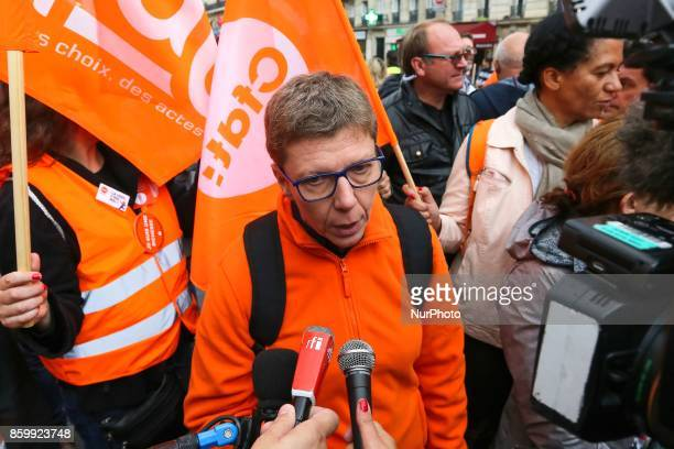 French Democratic Confederation of Labour union's Public service general secretary Mylene Jacquot speaks with press during a demonstration in Paris...