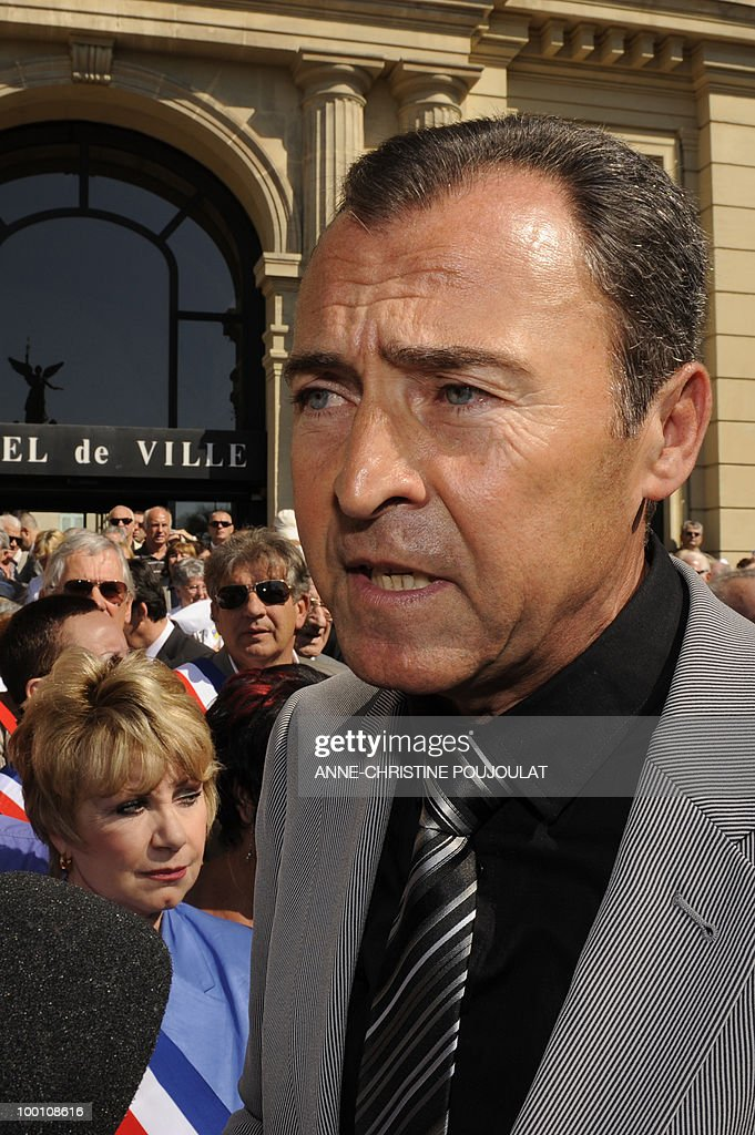 French deputy Lionnel Luca speaks to the press during a protest against the film 'Outside Of The Law' by French-Algerian director Rachid Bouchareb, whom they accuse of distorting history, on the sidelines of the 63rd Cannes Film Festival on May 21, 2010 in Cannes. Opening with a massacre of Algerian civilians by French soldiers in the town of Setif in 1945 -- a controversial historical event which some critics say has been misrepresented -- the film is one of very few cinematic treatments of the conflict.