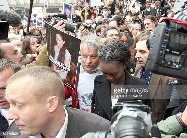 French deputy minister for Human Rights Rama Yade and former Fabrice Delloye, former husband of French Colombian hostage Ingrid Betancourt take part...