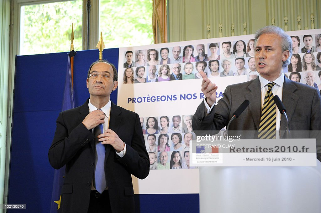 French deputy minister for Public service Georges Tron (R) gives a press conference next to French Labour Minister Eric Woerth (L) on the pension system on June 16, 2010 at the ministry in Paris. The French government unveiled a sweeping overhaul of its pensions system, raising the retirement age to 62 as it seeks to plug a hole in its finances and avoid a clash with unions.