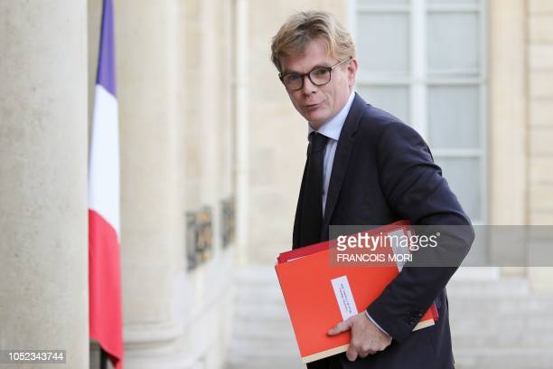 French deputy minister in charge of Relations with the Parliament Marc Fesneau arrives to attend the weekly cabinet meeting at the Elysee...