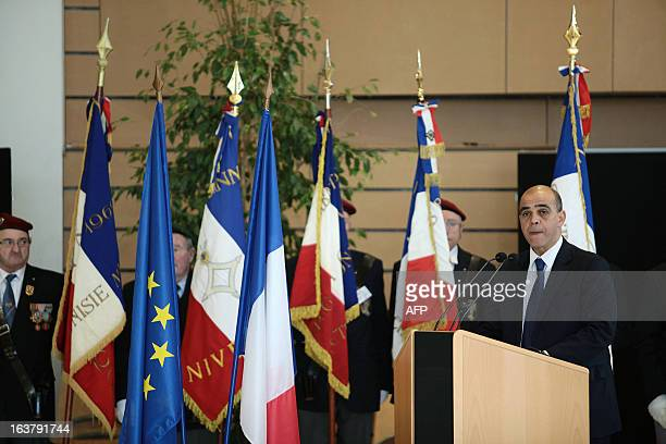 French Deputy Minister in charge of Veteran Affairs Kader Arif speaks on March 16 2013 during the awarding of a posthumous knight of the Legion of...
