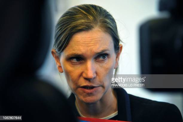 French deputy minister to the Economy minister Agnes Pannier-Runacher speaks to medias during a press conference on Ascoval steel factory, a branch...