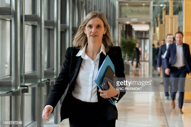 French deputy minister to the Economy Minister Agnes Pannier-Runacher arrives to speak to journalists prior to a meeting on the situation of steel...