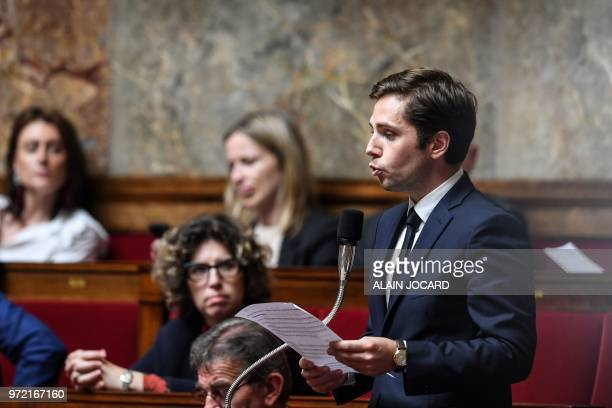French deputy PieyreAlexandre Anglade questions French Foreign Affairs Minister during a session of questions to the government on June 12 2018 at...