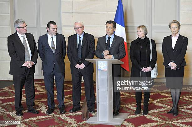 French Deputy Thierry Lazaro lawyer Franck Berton Bernard Cassez Charlotte Cassez and Foreign Affairs Minister Michele AlliotMarie listen to France's...