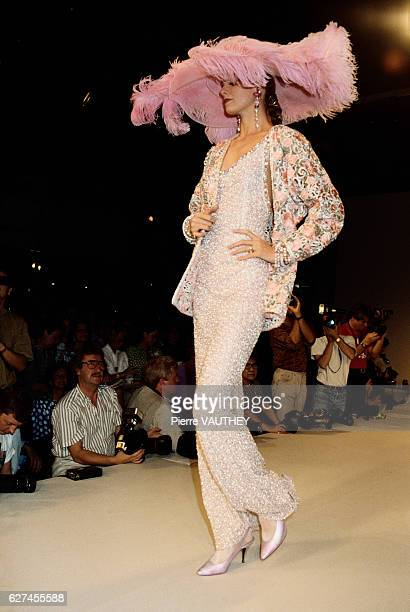 French design house Emanuel Ungaro displays its women's haute couture line at the 19901991 AutumnWinter fashion show in Paris The model is wearing a...