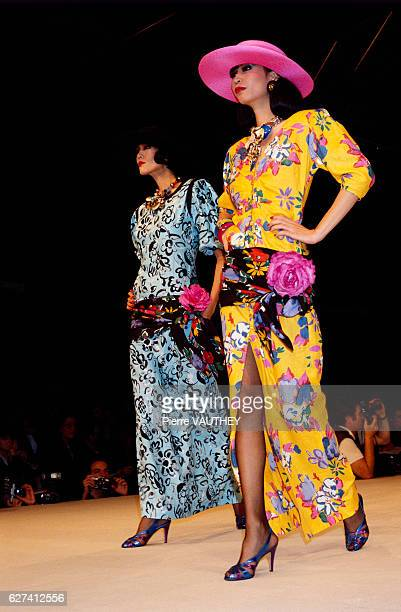 French design house Emanuel Ungaro shows its 1985 springsummer women's readytowear line in Paris The models are wearing bright floral dresses
